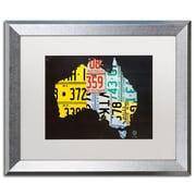 "Trademark Fine Art ''Australia License Plate Map'' by Design Turnpike 16"" x 20"" White Matted Silver Frame (ALI1311-S1620MF)"