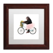 "Trademark Fine Art ''Monkeys Riding Bikes #1'' by J Hovenstine Studios 11"" x 11"" White Matted Wood Frame (ALI1348-W1111MF)"