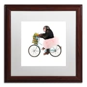 "Trademark Fine Art ''Monkeys Riding Bikes #1'' by J Hovenstine Studios 16"" x 16"" White Matted Wood Frame (ALI1348-W1616MF)"
