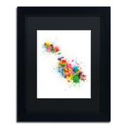 "Trademark Fine Art ''Malta Map Paint Splashes'' by Michael Tompsett 11"" x 14"" Black Matted Black Frame (MT0508-B1114BMF)"