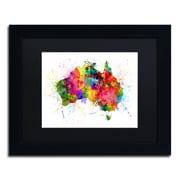 """Trademark Fine Art ''Australia Paint Splashes Map'' by Michael Tompsett 11"""" x 14"""" Black Matted Black Frame (MT0515-B1114BMF)"""