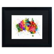 """Trademark Fine Art ''Australia Paint Splashes Map'' by Michael Tompsett 16"""" x 20"""" Black Matted Black Frame (MT0515-B1620BMF)"""
