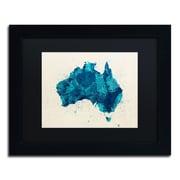"""Trademark Fine Art ''Australia Paint Splashes Map 2'' by Michael Tompsett 11"""" x 14"""" Black Matted Black Frame (MT0516-B1114BMF)"""