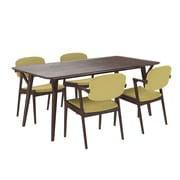 "Modway 71""L Wood Dining Table, Walnut/Green (EEI-2066-WAL-GRN-SET)"