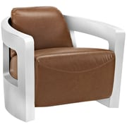 """Modway Trip 32""""W Leather Lounge Chair, Brown (EEI-2070-BRN)"""
