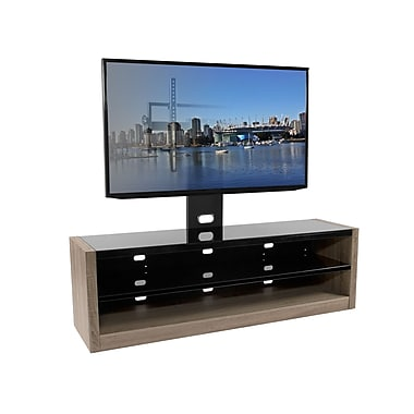 Kanto PLUS Flat Screen TV Stand with Mount and Black Glass Shelves, White Oak (MESAPL64WO)