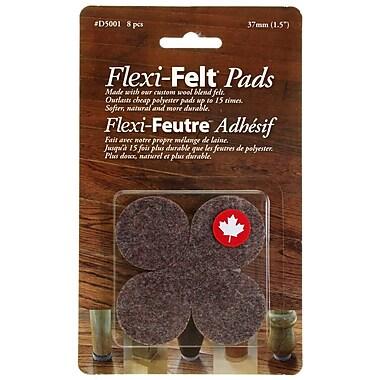 Flexi-Feutre – Coussinets feutrés adhésifs industriels D5001B en rondelles de 1,5 po, foncé, paq./8