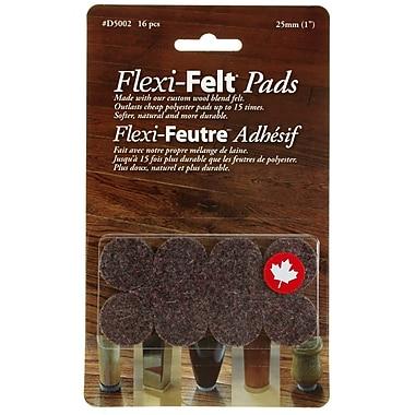 Flexi-Feutre – Coussinets feutrés adhésifs industriels D5002B en rondelles de 1 po, foncé, paq./16