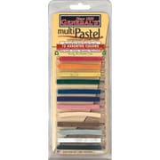 General Pencils Multi Pastel Compressed Chalk Sticks, Assorted Colors, 12/Pack (40140-BP)