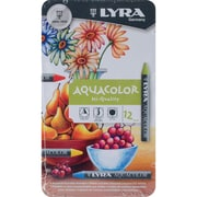 Dixon Lyra Aquacolor Water-Soluble Crayons, Assorted Colors, 12/Pack (5611120)