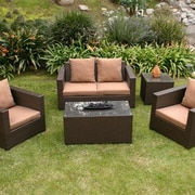 AIC Garden & Casual Metro 5 Piece Deep Seating Group with Cushions; Cameo Brass