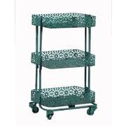 Linon Pierced Metal 3 Tier Shelf; Turquoise
