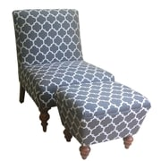 HomePop Slipper Accent Chair & Ottoman; Gray