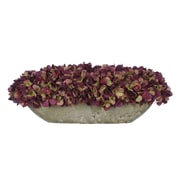 House of Silk Flowers Artificial Hydrangea in Oval Ceramic Pot; Plum / Sage