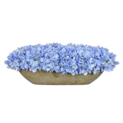 House of Silk Flowers Artificial Hydrangea in Oval Ceramic Pot; Blue
