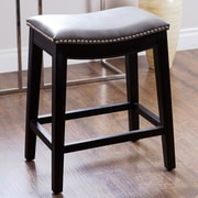Abbyson Living Raffia 25'' Bar Stool with Cushion; Grey