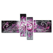 DesignArt Contemporary Abstract 4 Piece Original Painting on Canvas Set in Pink