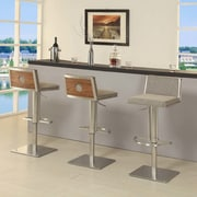 AC Pacific Elio Adjustable Height Swivel Bar Stool With Cushion