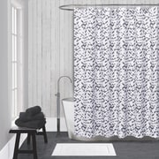 LaMont Kinetic Cotton Shower Curtain; White / Black