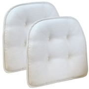 Klear Vu Omega Gripper Tufted Chair Cushion (Set of 2); Ivory