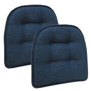 Klear Vu Omega Gripper Tufted Chair Cushion (Set of 2); Indigo