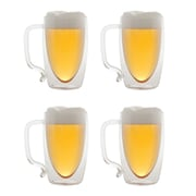 Starfrit Set Of 4 Double-wall Glass Beer Mugs, 17oz.