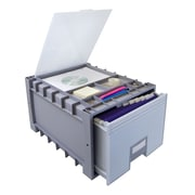 Storex Plastic Storage Drawer, Gray, 2/CT (STX61173B02C)