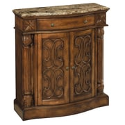 "Stein World William 35.5"" Accent Cabinet, Aged Pecan w/Brown Calico Marble (65164)"