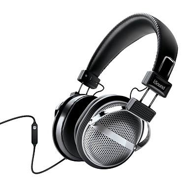 Stereo Headphones With Inline Mic & Volume, Black/Silver