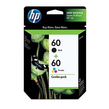 HP 60 Black & Tri-Color Original Ink Cartridges, 2/Pack (N9H63FN)