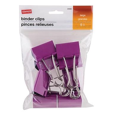 StaplesMD – Pinces relieuses, grandes, 2 po, violet, 8/pqt