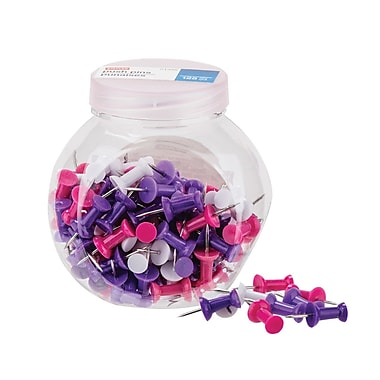 Staples® Push Pins, Assorted Colours, Pink/Purple/White, 125/Pack