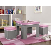 Cosco Jamie Folding Kids' Table and Ottoman Set, Pink/Gray (5830196PCOM)
