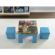 Cosco Jamie Folding Kids' Table and Ottoman Set with Owl Pattern, Blue (5830296PCOM)