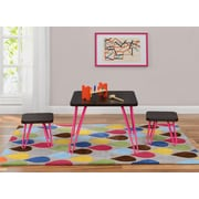 Cosco Betty Retro Style Kids Table and Stools Set, Espresso/Pink (5837196PCOM)