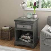 Altra Stone River Nightstand with Fabric Insert, Dark Gray Oak