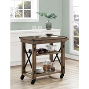 Altra Wildwood Wood Veneer Multi-Purpose Rolling Cart, Rustic Gray