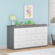 Cosco Willow Lake  6 Drawer Dresser, Light Slate Gray/White (5871321PCOM)
