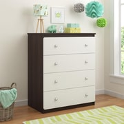 Cosco Willow Lake 4 Drawer Dresser, Coffee House Plank/White (5870216PCOM)