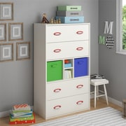 Cosco Lucerne 4 Drawer Dresser with Fabric Bins, White (5673015PCOM)