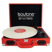 boytone  Mobile Briefcase Record Turntable, Red (BT-101TBRD)