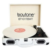 boytone  Mobile Briefcase Record Turntable, White (BT-101TBWT)