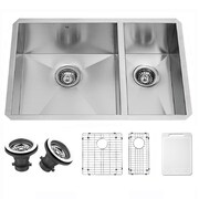 Vigo Alma 29 inch Undermount 70/30 Double Bowl 16 Gauge Stainless Steel Kitchen Sink; Yes
