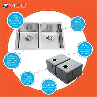 Vigo 29 inch Undermount 50/50 Double Bowl 16 Gauge Stainless Steel Kitchen Sink; No WYF078276876175