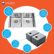Vigo 29 inch Undermount 50/50 Double Bowl 16 Gauge Stainless Steel Kitchen Sink; No