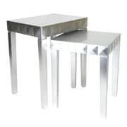 Wayborn 2 Piece Nesting Table Set; Silver Leaf