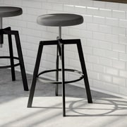 Amisco Quest Adjustable Height Bar Stool with Cushion; Black