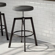 Amisco Quest Adjustable Height Bar Stool with Cushion; Gun Metal