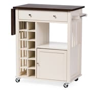 Wholesale Interiors Justin Solid Wood Kitchen Cart w/Dark Oak Drop Leaf Top and Built-in Wine Rack