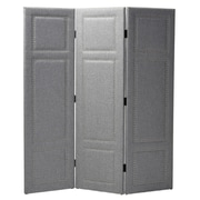 Wholesale Interiors 64.55'' x 59.48'' Modern and Contemporary 3 Panel Room Divider; Grey